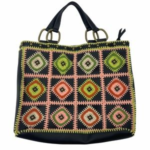 BCBGirls- Crocheted Patchwork Leather Tote Bag